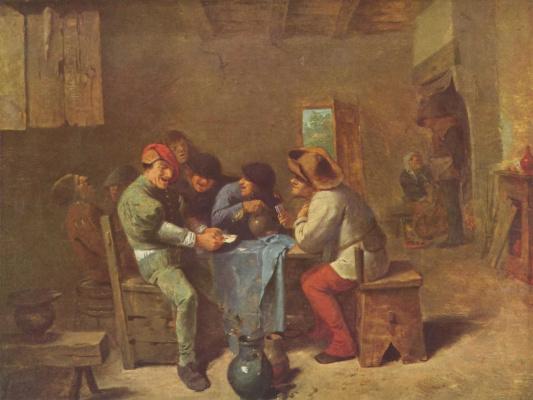 Адриан Брауэр. Крестьяне играют в карты в трактире