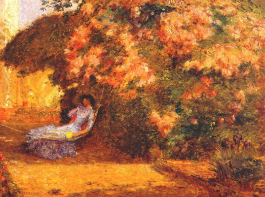Childe Hassam. Under the lilacs