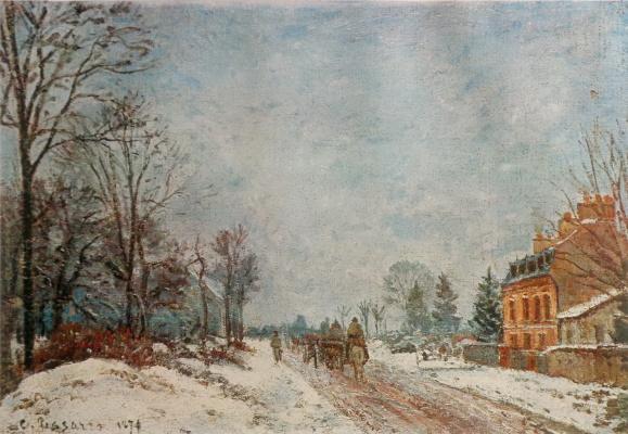Камиль Писсарро. Зимний пейзаж. Лувесьен