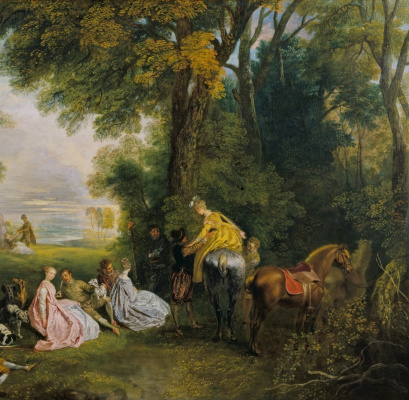 Antoine Watteau. A date for the hunt. Fragment