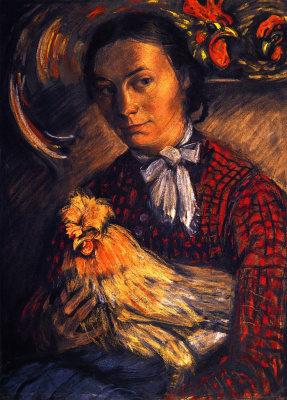 Franz Marc. Portrait of a farmer's wife with chicken