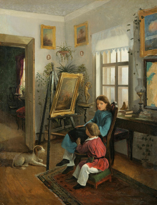 Ivan Fomich (Trofimovich) Khrutsky. In the rooms of the estate of the artist. (Children in front of the easel)