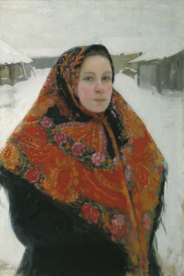 Lukian Vasilyevich Popov. Portrait of the wife in a colorful scarf. Mid 1900s Orenburg Regional Museum of Fine Arts