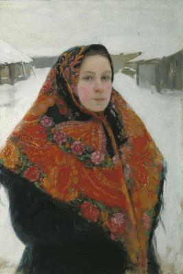 Lukian Vasilyevich Popov. Portrait of the wife in a colorful scarf. Mid 1900s Orenburg Regional Museum of Fine Arts