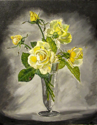 Artashes Badalyan. Cecil Kennedy. Yellow roses - xm - 50x40 (multi-layered copy)