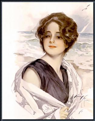 Харрисон Фишер. Девушка на пляже с белой шалью