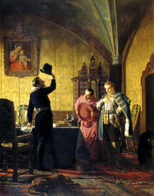 Nikolai Vasilyevich Nevrev. Oath of false Dmitry I Polish king Sigismund III on the introduction in Russia of Catholicism