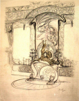 Alphonse Mucha. The interior of the boutique of Georges Fouquet. Sketch of fireplace design with mirror and figurines and decor items for the walls