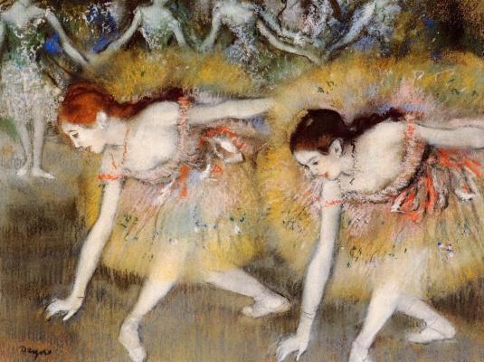 Edgar Degas. Two ballerinas in a bow