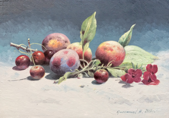 Vasily Ivanovich Gribennikov. Still Life with Cherries and Plums