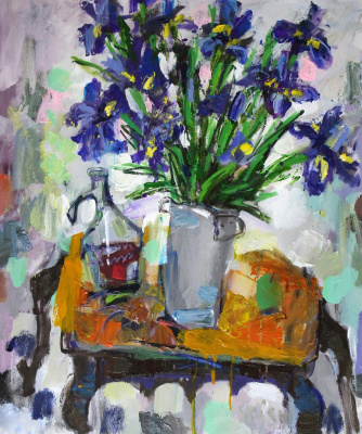 Ilya Pavlovich Spichenkov. Irises, carafe with compote and apple