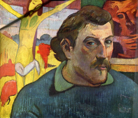 """Paul Gauguin. Self-portrait with """"the Yellow Christ"""""""