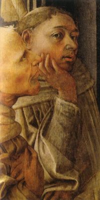 Фра Филиппо Липпи. Коронование Марии. Фрагмент с автопортретом художника