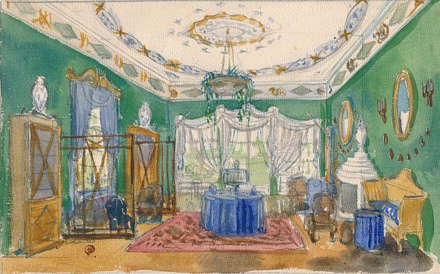 Mstislav Valerianovich Dobuzhinsky. Sketch of the design of the living room in the estate of Natalyovka Sugar Maker P.I. Kharitonenko in Kharkiv province