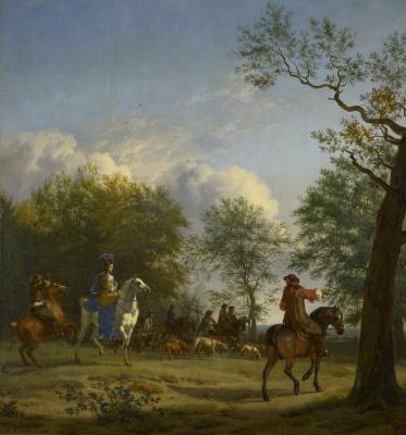 Адриан ван де Вельде. Выезд на соколиную охоту