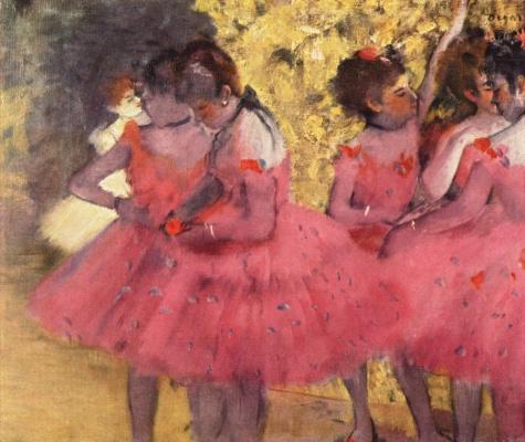 Edgar Degas. Dancers in pink between the scenes