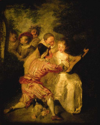 Antoine Watteau. Artists from the Commedia dell'Arte in a landscape