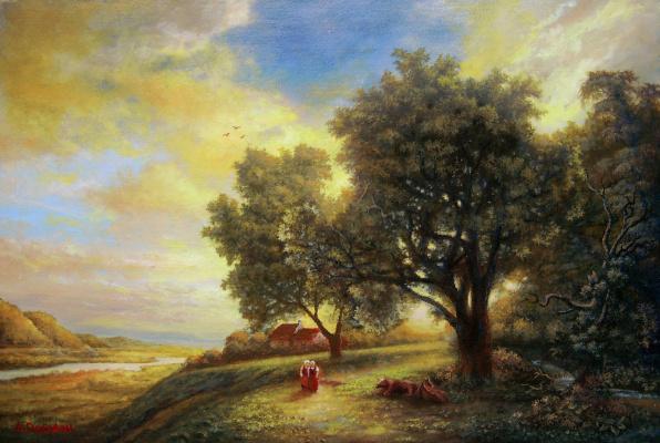 Andrey Domanin. Frozen Jun at sunset summer