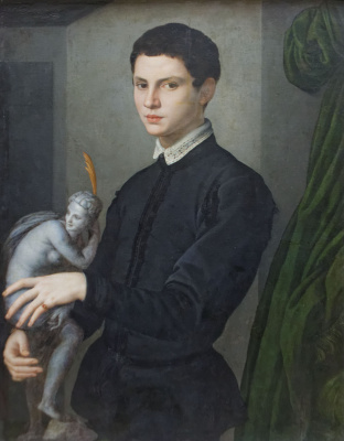 Agnolo Bronzino. Portrait of a man holding a statuette