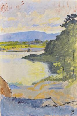 Cuno Amiè. Landscape with a lake