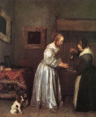 Герард Терборх. Женщина моет руки