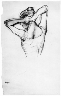 Edgar Degas. Half-figure of a ballerina with crossed behind the head with hands