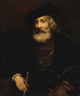 Rembrandt Harmenszoon van Rijn. Bildnis eines Alten mit Stock und Hut