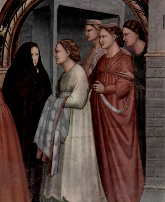 Giotto di Bondone. Meeting at the Golden Gate. Scenes from the life of Joachim. Fragment