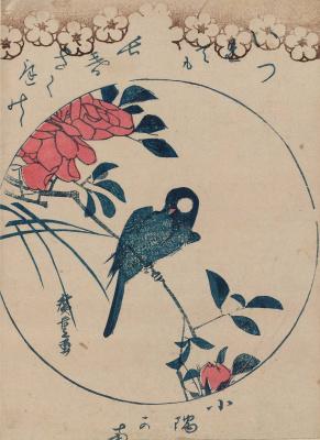Утагава Хиросигэ. Птица на ветке и цветы розы