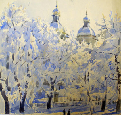 Alexandre Benois. St. Nicholas Cathedral in the winter. The view from the window of the apartment A.N. Benoit