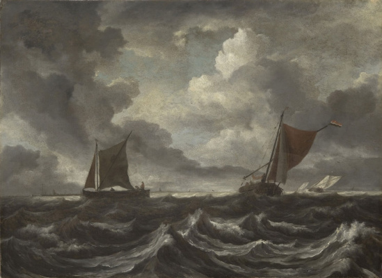 Jakob van Isaacs Ruisdael. Boats in a stormy sea