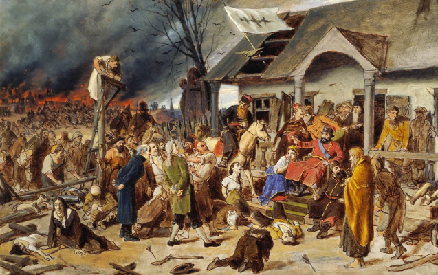 Vasily Grigorievich Perov. The Court Of Pugachev. Sketch for the painting