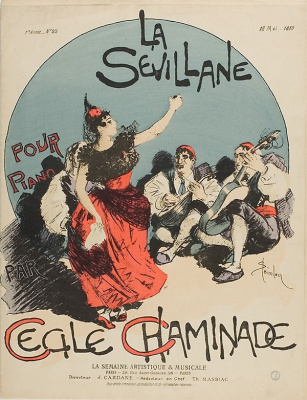 Theophile-Alexander Steinlen. The Billboard project. Overture to the women of Seville, for piano, Cecile Chaminade