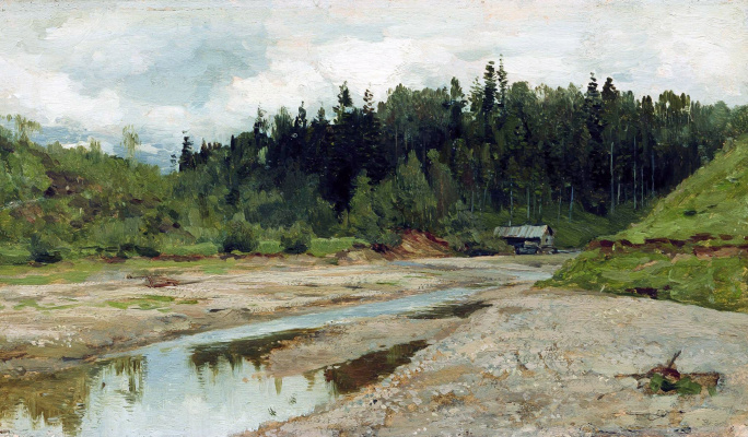 "Isaac Levitan. Forest river. A sketch for the painting ""the bell"""