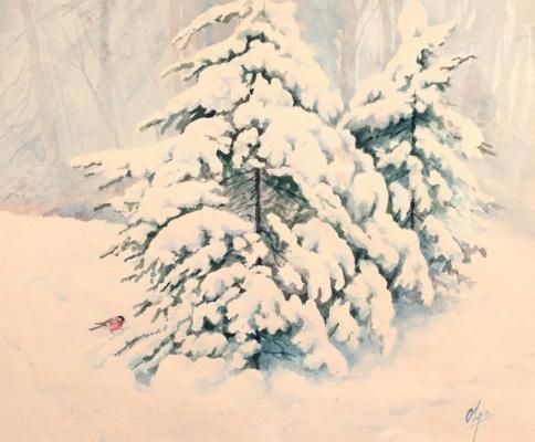 Ольга Александровна Романова. Ели в снегу и снегирь