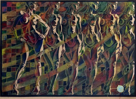 Владимир Катаев. «Идентификация-3»,Х3М,А/Р,3/3,крафт,  45,5 Х 65 см, 2017 год