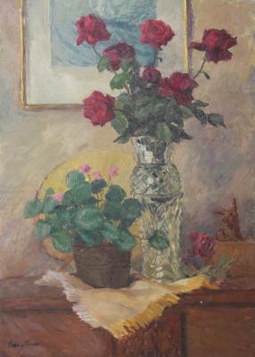 Sergey Yakovlevich Lagutin. Roses and dog