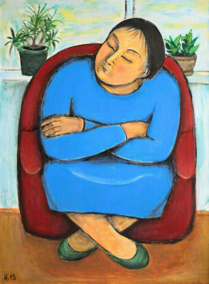 Indira Baldano. Woman in blue