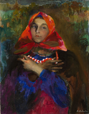 Philip Andreevich Malyavin. Russian girl in a red scarf