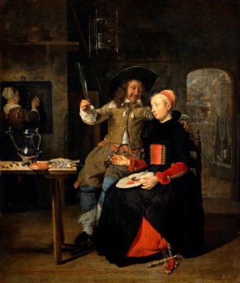 Self-portrait with his wife Isabella de Wolff in a tavern