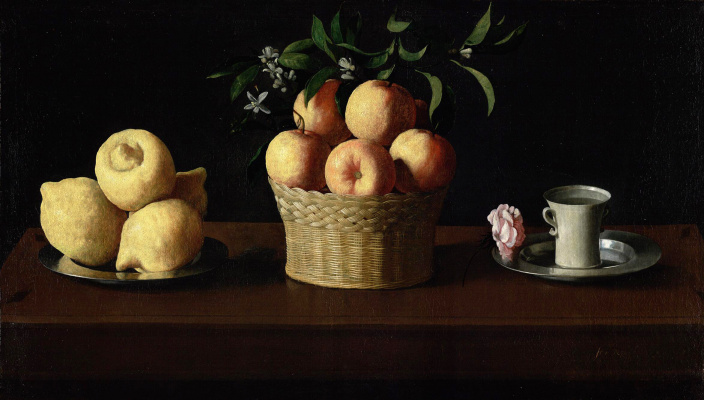 Francisco de Zurbaran. Plate with lemons, a basket of oranges and a rose on the saucer