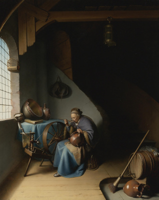Gerrit (Gerard) Dow. The old woman eating porridge, sitting at the window next to the spinning wheel