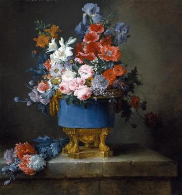 Анна Валайер-Костер. Букет цветов в голубой вазе