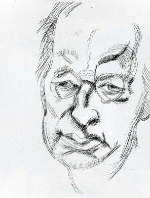 Lucien Freud. Portrait of a sullen man