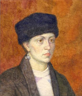 Alexander Leonidovich Mukhin-Cheboksary. Woman in Kubanke (miniature)