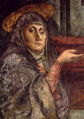 Tommaso Masaccio. The Holy Trinity. Fragment. the Virgin Mary