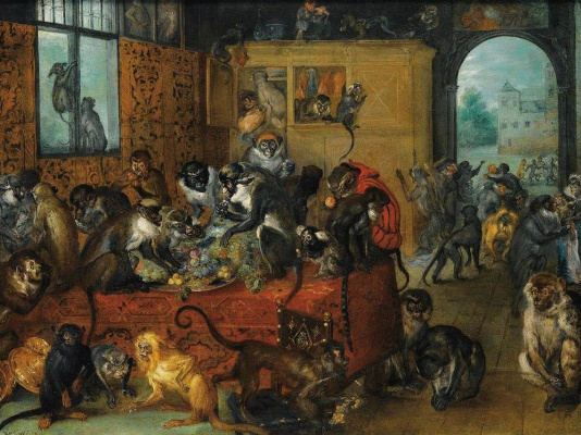 Jan Bruegel The Elder. Monkey feast