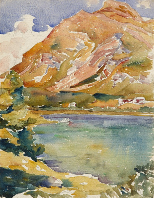 Giovanni Giacometti. Peak Lungin and lake Sils