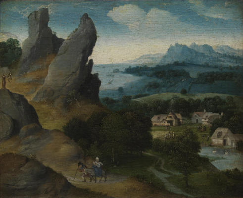 Joachim Patinir. Landscape with the flight into Egypt