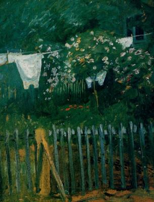 August Macke. Lingerie in the garden